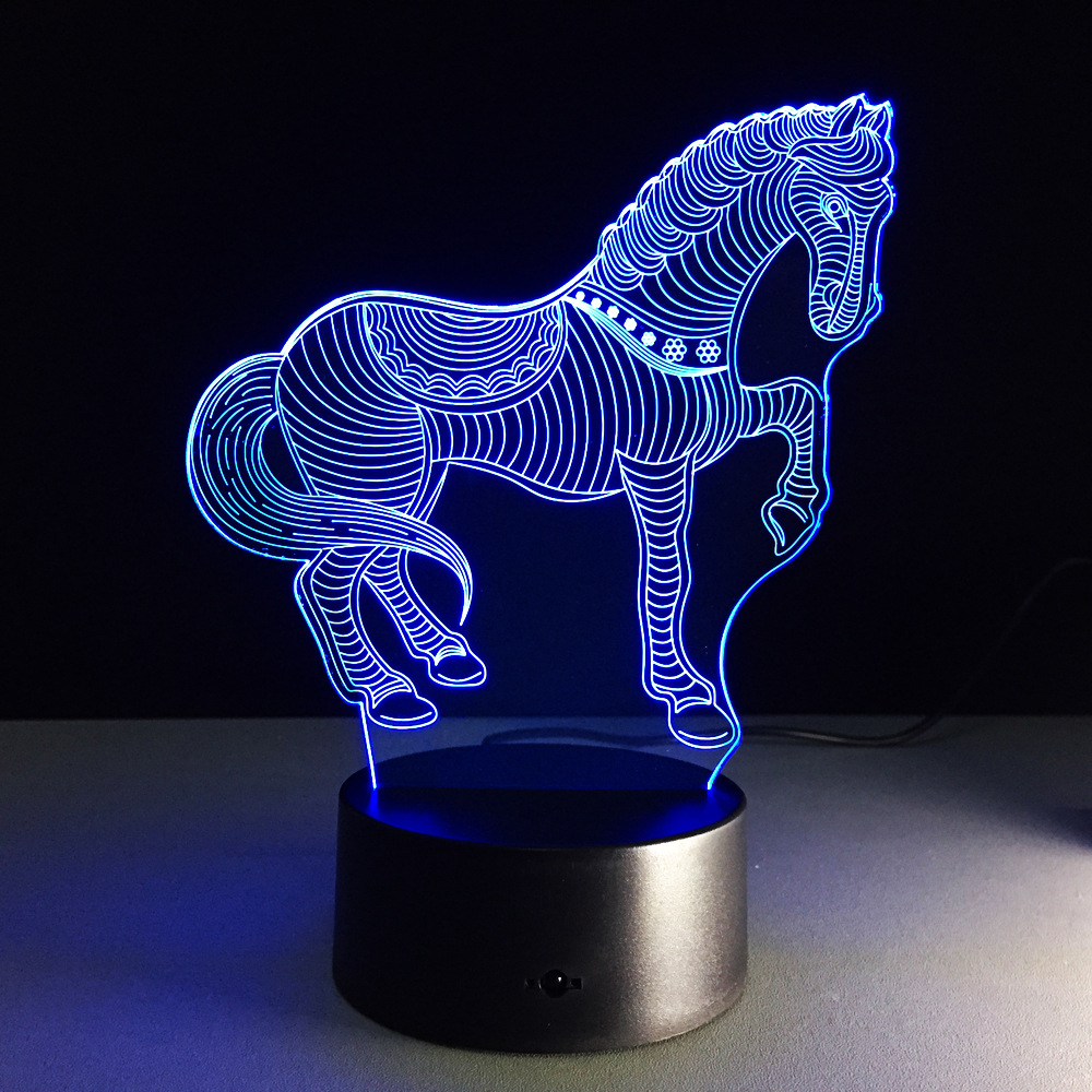 Night lights holiday - 7 Color Holiday Atmosphere Decorative Horse 3d Ilusion Led Night Light 3d Lamp With Touch