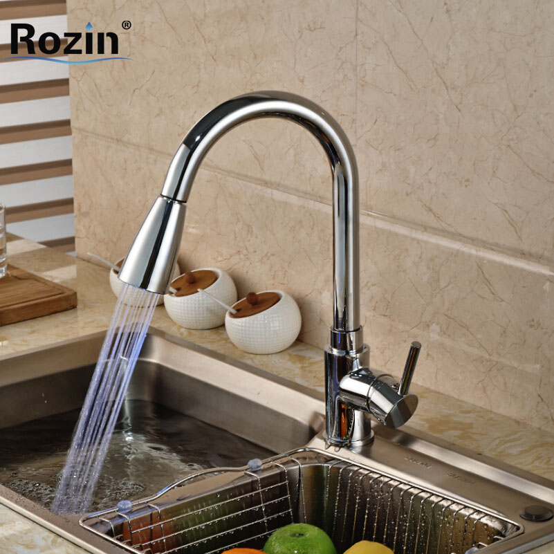 Luxury Single Lever Brass Kitchen Mixer Faucet with LED Light Deck Mount Pull Out Rotation Spout Hot Cold Water Taps