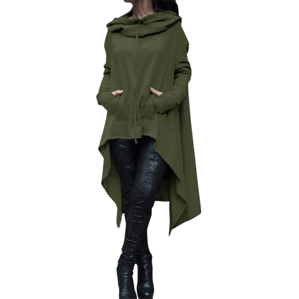 2017 Autumn Winter Trench Coat Women Casual Loose Long Coat Maxi Gothic Green Trench Ladies Coats