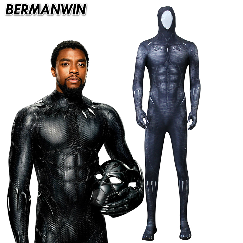 BERMANWIN High Quality 2018 Black Panther Costume 3D Printing New Black Panther Cosplay Costume With Muscle Shade Halloween suit