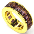 7 # Аметист Круг SheCrown женщины Свадьба Создания Золото Серебро Кольцо 22 х 18 мм