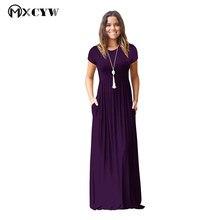 Spring Summer 2018 Dresses For Women Short Sleeve Pocket High waist Long Dress Female Vestidos Elastic Waist Women'S Clothing
