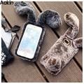 Aokin luxury case para iphone 7 7 plus cabelo da orelha de coelho pele macia diamante tampa traseira para apple iphone 6 6 plus 6 s menina de casca mole