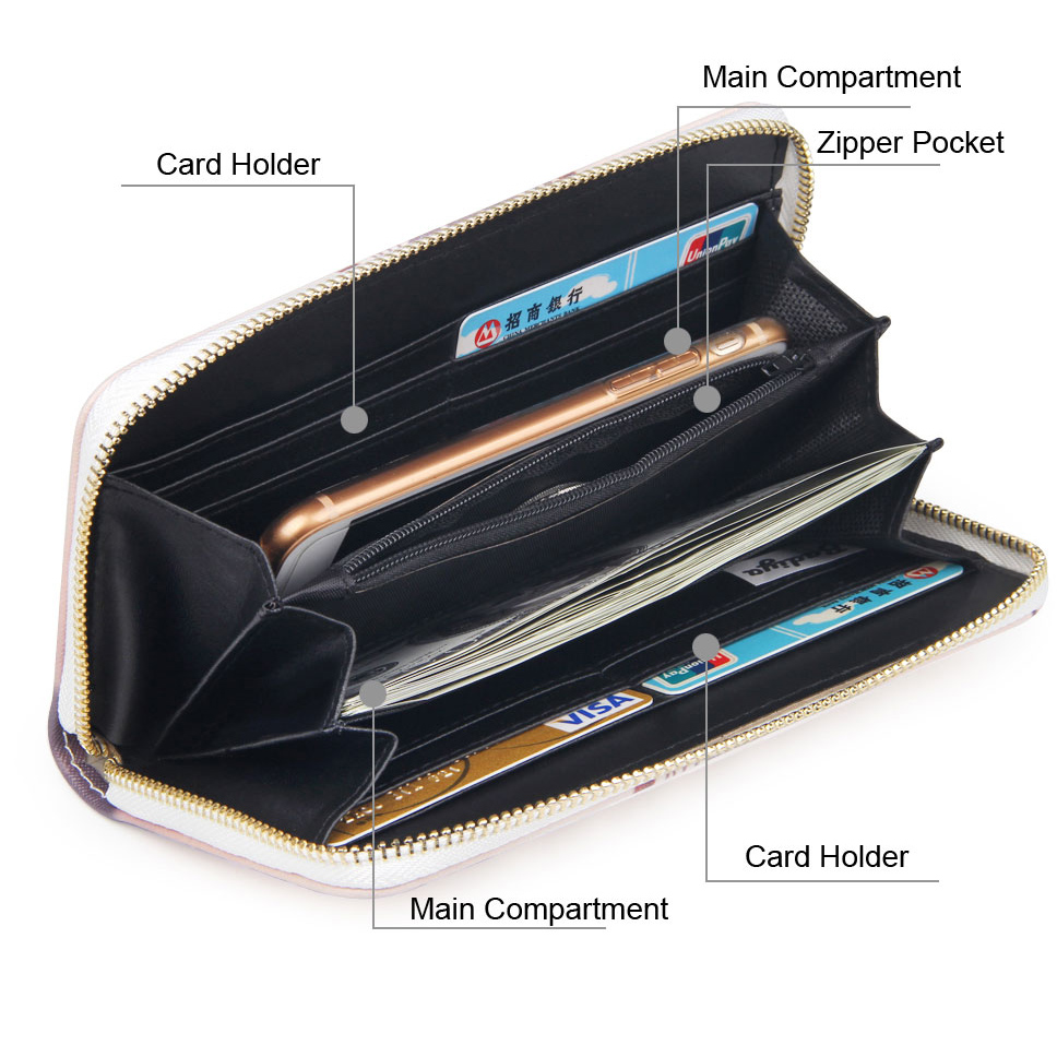 buy cheap promo code online US $6.52 46% OFF|Printing Long Women Wallet Zipper PU Leather Card Slots  Phone Bag Money Cash Coins Carteira Ladies Clutch Female Purse-in Wallets  ...