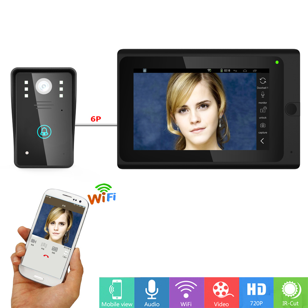 купить 7'' Wifi IP Video Door Phone Doorbell Intercom Entry System With 1000TVL Camera Night Vision,Support Remote APP unlocking,Record по цене 8645.38 рублей