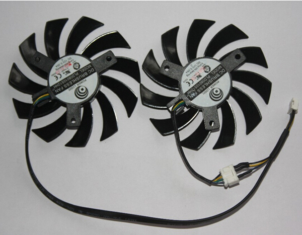 2pcs/lot Matching DC BRUSHLESS Graphics Card Fan Vedio VGA PLD08010S12HH For MSI GTX 460 560 570 580 R6870 R6950 Twin Frozr II