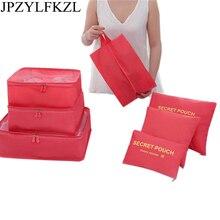 JPZYLFKZL 7Pcs New Portable Travel Cosmetic Bag Waterproof Clothing Organizer Underwear Bra Box Storage