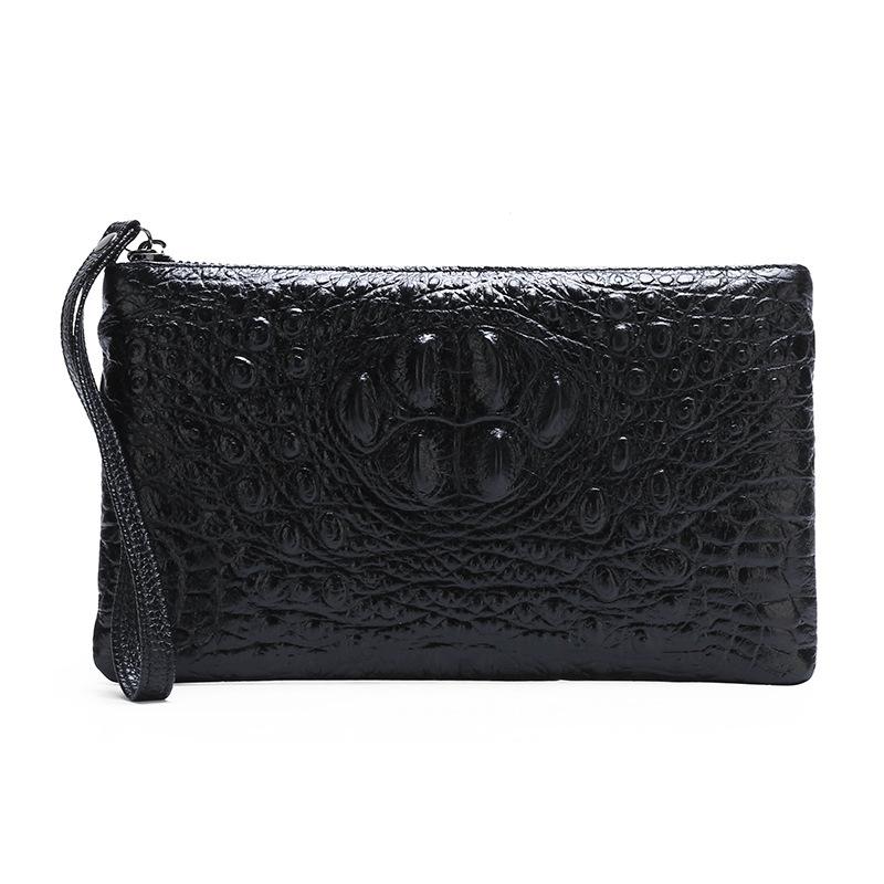 Purse Catch Crocodile-Grain Walle Zipper Hand-Take Thin-Section Cowhide Genuine-Leather