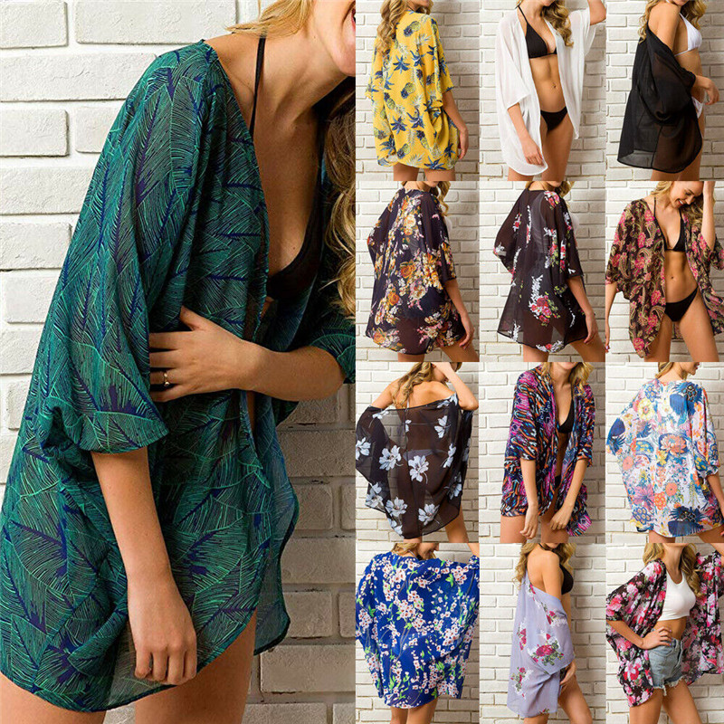 Beach Sarongs Cover-up Swimwear Dress Bobe De Plage Pareo Beach Tunics Bathing Costume  Floral Beachwear Cover-up