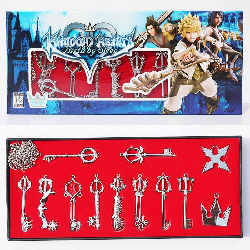 New KEYBLADE Kingdom Hearts Birth By Sleep 12 pcs Pendant /& Key Chain Set
