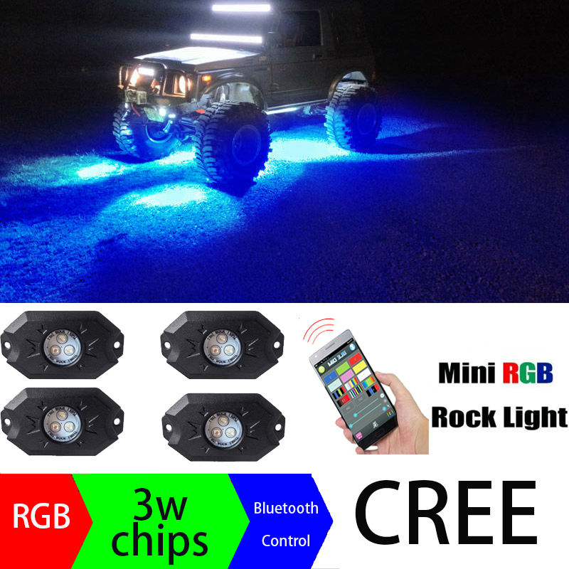 Bluetooth 8 Pods LED RGB Rock Lights Offroad Mini Rock Under Vehicle LED Flush Lights Decorate Lamp for ATV UTV JEEP Mine Boat luces led de policía