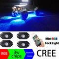 Bluetooth 4 Vagens LED RGB Luzes de Rock Offroad Mini Rocha Sob veículo Luzes LED Embutida Lâmpada Decorar para ATV UTV JEEP Mina barco