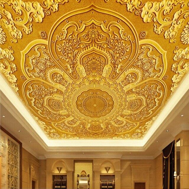 3d wall texture designer high quality deep texture 3d wall mural wallpaper golden flowers pattern covering living room hotel
