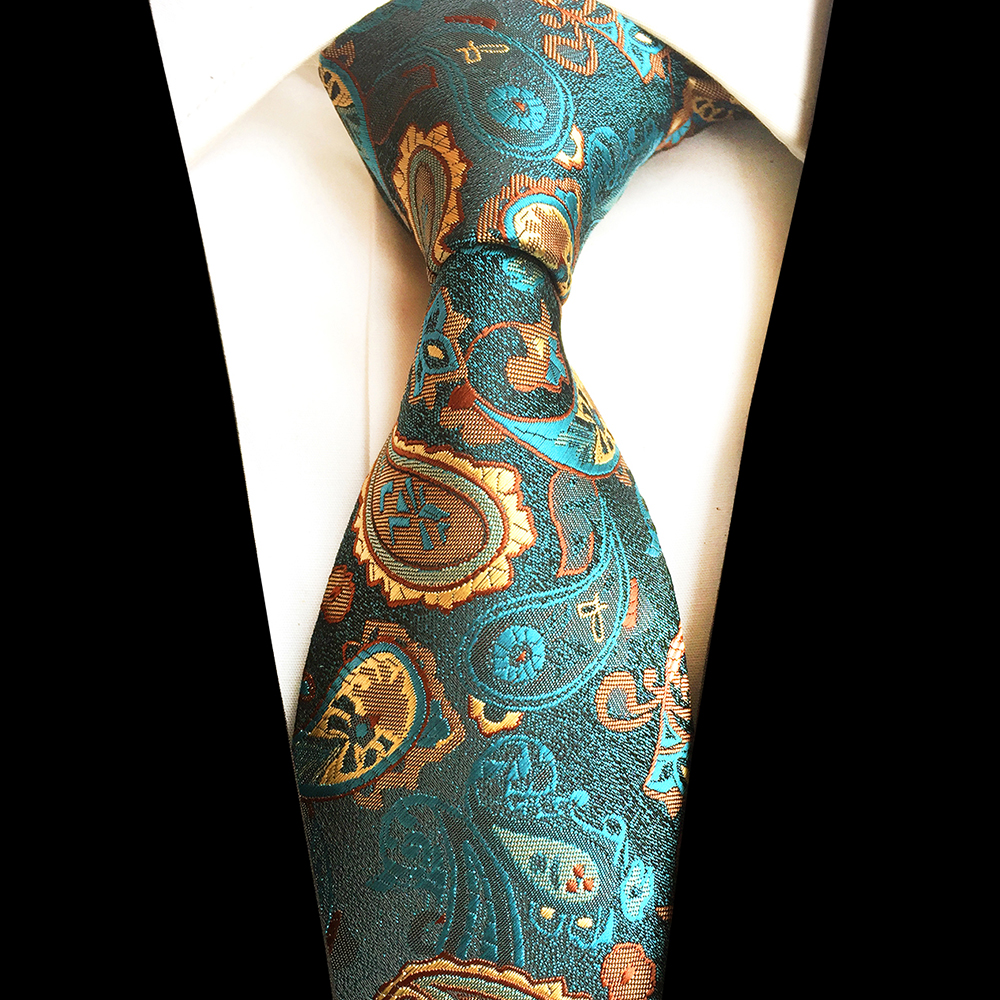 GUSLESON New Design Paisley Jacquard kudottu silkki Mens Ties Neck Tie 8cm raidallinen siteet miehille Business Suit Business Wedding Party