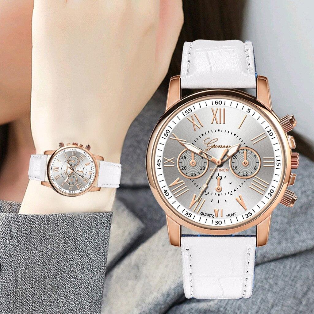 HOT Roman Number Ladies Women Leather Band Quartz Wrist Watches Montre Femme жн Reloj Mujer Zegarek Damski Relojes Para Mujer