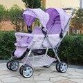 Hot Venda Nova Desin Fácil Controle Gêmeos Carrinho De Bebê Frente e de Volta a Luz Dobrável Carrinho De Bebê Duplo Carrinho De Criança de Carro Do Bebê Infantil gêmeo