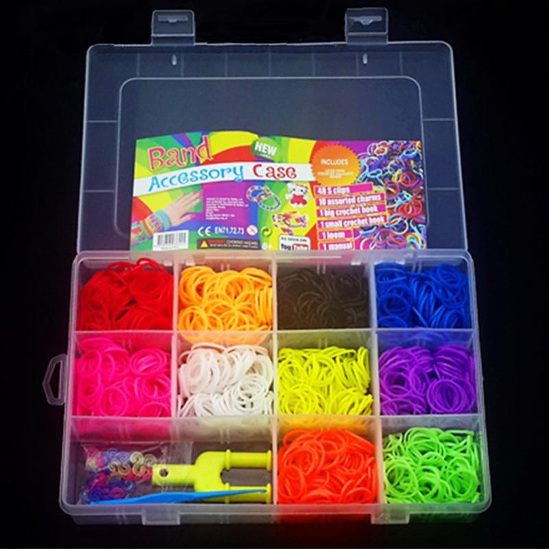 1500pcs Rubber Bands Loom DIY Set Handmade Girls Gift Weaving Tool Box Silicone Braided Bracelet Kit Kids Toys For Children 5 7