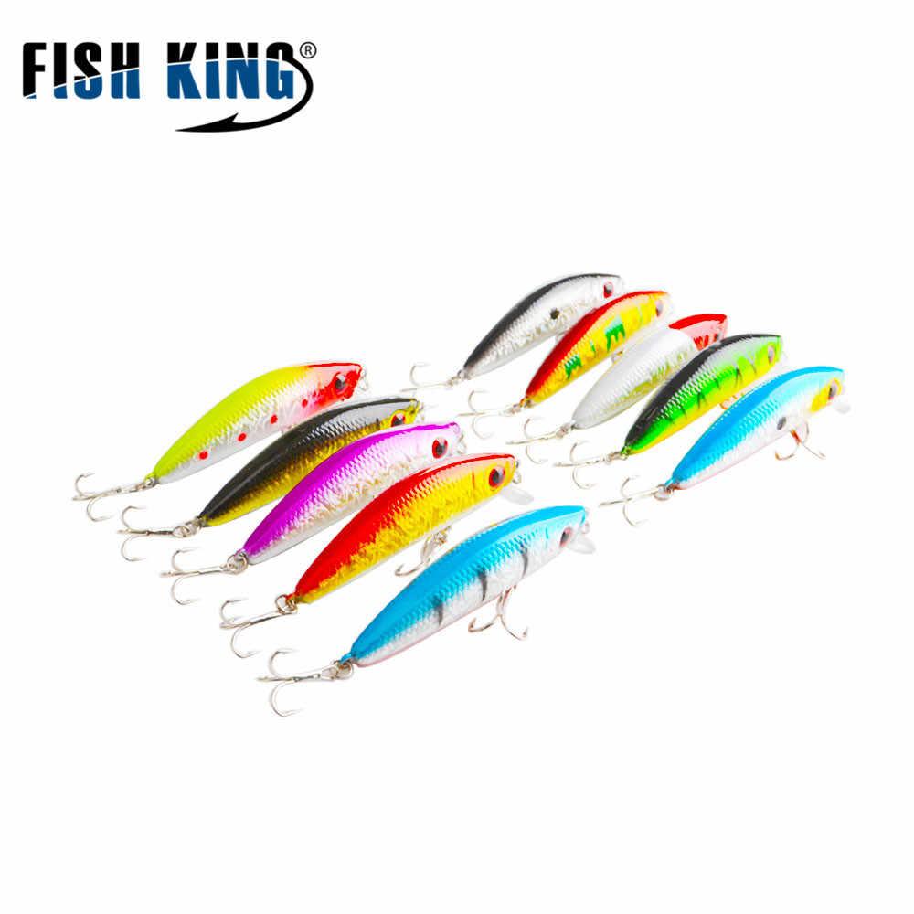 PESCE RE Minnow Falso Pesce Esca Dura Wobblers A Doppia Frizione Richiamo di Pesca 3D Occhio 7 centimetri 7.7g Swinbait Popper 712