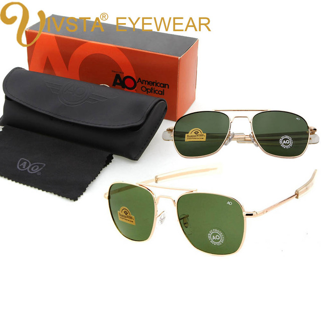 cb2884dc7a IVSTA Pilot gafas de sol hombres americanos ejército militar marca de  conducción AO gafas de sol