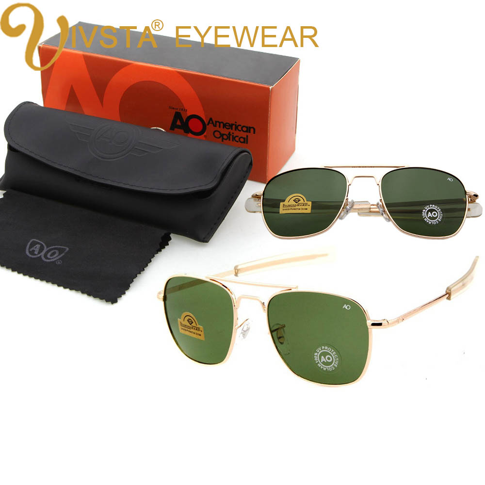 IVSTA Pilot Sunglasses Men American Army Military Brand Driving AO Sun Glasses For Male Glass Lenses Alloy with Original Box