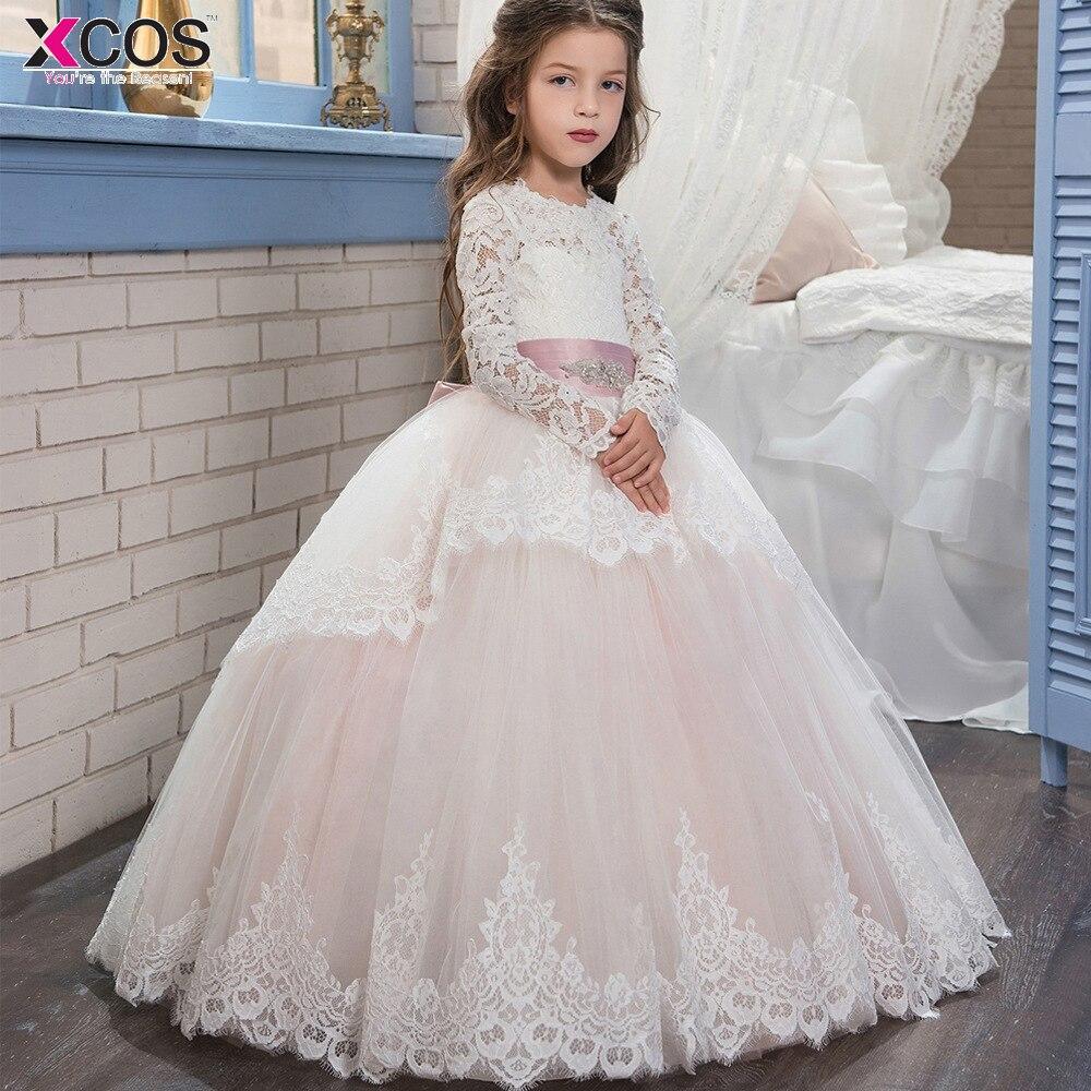 2018 White bloemenmeisjes jurk Children First Communion   Dresses   for   Girls   Ball Gown Belt Elegant Long Sleeve   Flower     Girl     Dress