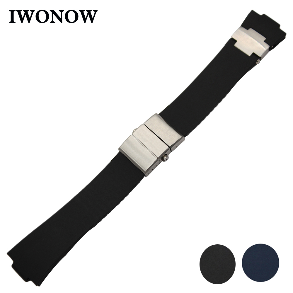 25mm x 12mm Silicone Rubber Watchband for Ulysse Nardin 263 Marine 1183 Blue Seal Watch Band Steel Butterfly Clasp Strap Belt ulysse