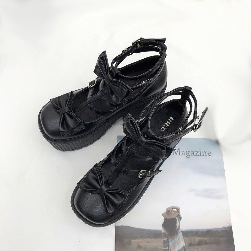 Talons Noir Bottes Chaussures Mode Pompes Femmes Moto Boucle Chunky Parti Cheville Bowknot Martin Punk Printemps awOqSg