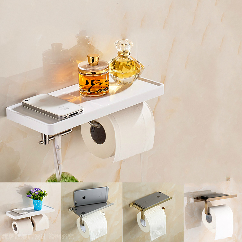Modern 304 Stainless Steel Roll Holder Toilet Paper Holder Tissue Box Mobile Phone Holder Wall Mount Bathroom Accessories og8 stainless steel toilet tissue roll box wall mounted bathroom paper holder sturdy practical and user friendly