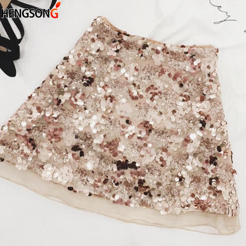 Motivated Hengsong New Trendy Sequin Skirt Women 2018 High Waist Zip Glitter A-line Skirt Gold Sliver Sexy Mini Party Skirt 719365 Clear And Distinctive