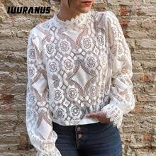IUURANUS Elegant white lace blouse shirt Sexy hollow out embroidery feminine blouse Women long lantern sleeve summer tops female цена 2017