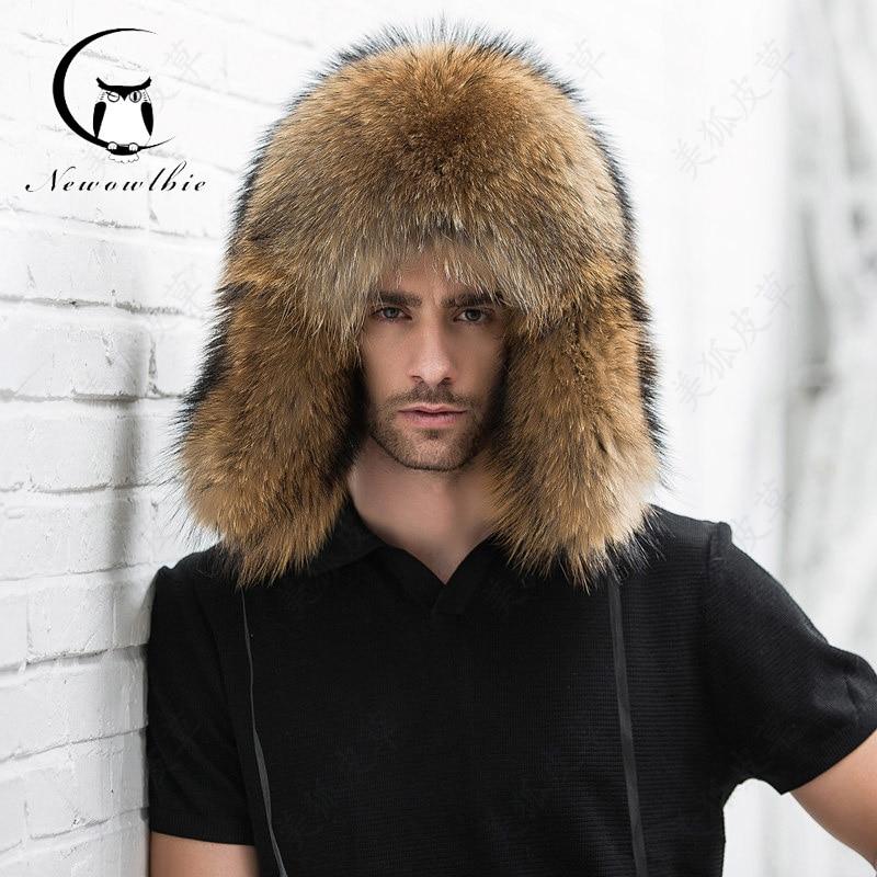 اللون الطبيعي الفراء قبعة سيبيريا نمط قبعة الفرو الراكون ushanka قبعة كاملة ل منتصف القطن قبعة ليو فنغ قبعة الشتاء هكتار