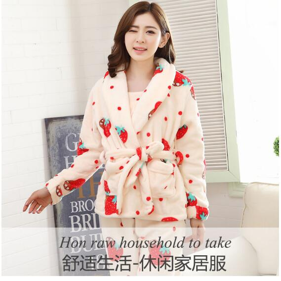 3cefa6f789f 2019 New Autumn winter flannel pajamas thickening women sets sleepwear  sweet girl Strawberry printing Indoor Clothing Home Suit