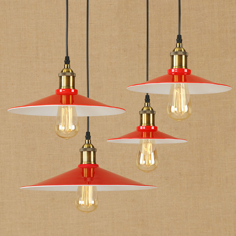 Modern LED red iron pendant lamp vintage hanging E27 light Loft style bar/restaurant living room bedroom lighting fixture 220vModern LED red iron pendant lamp vintage hanging E27 light Loft style bar/restaurant living room bedroom lighting fixture 220v