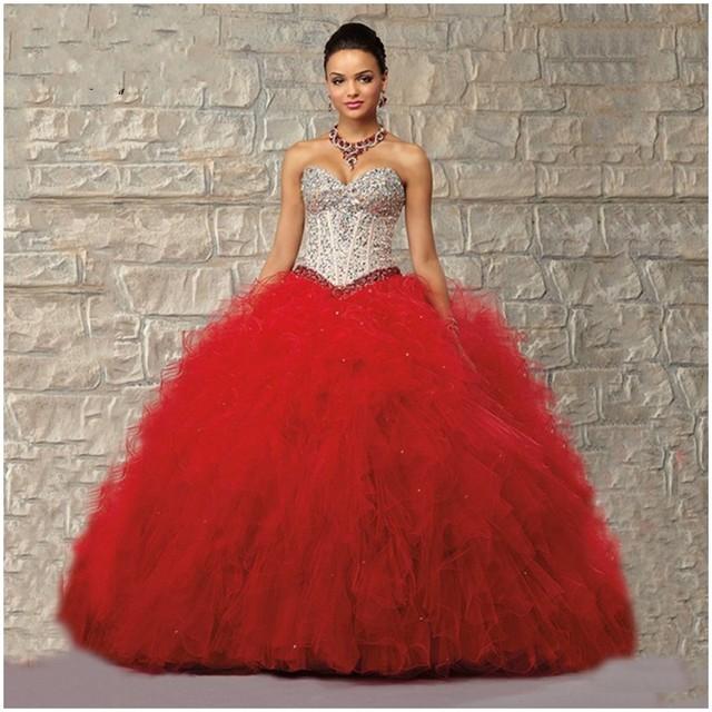 0e84047b4 Vestidos De 15 Anos vestido de Bola Atractivo Rojo Con Cuentas Cristales  Piedras Partido Vestidos Románticos
