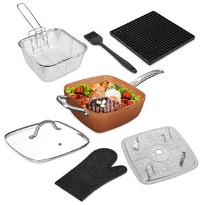 Multi-use 7pcs/set Square Nonstick Copper Frying Fried Pan