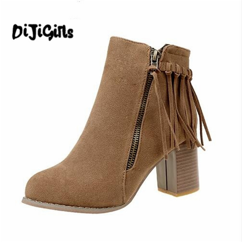 цены Women's Double Zip Tassel Thick Heel Ankle Boots Female Fashion Spring Autumn High Heels Ladies Casual Solid Shoes