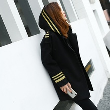 HSC004 Embroidered Blazer/high quality Black Pilot style uniform coat black medium long coats/women wool blended  coats/3size