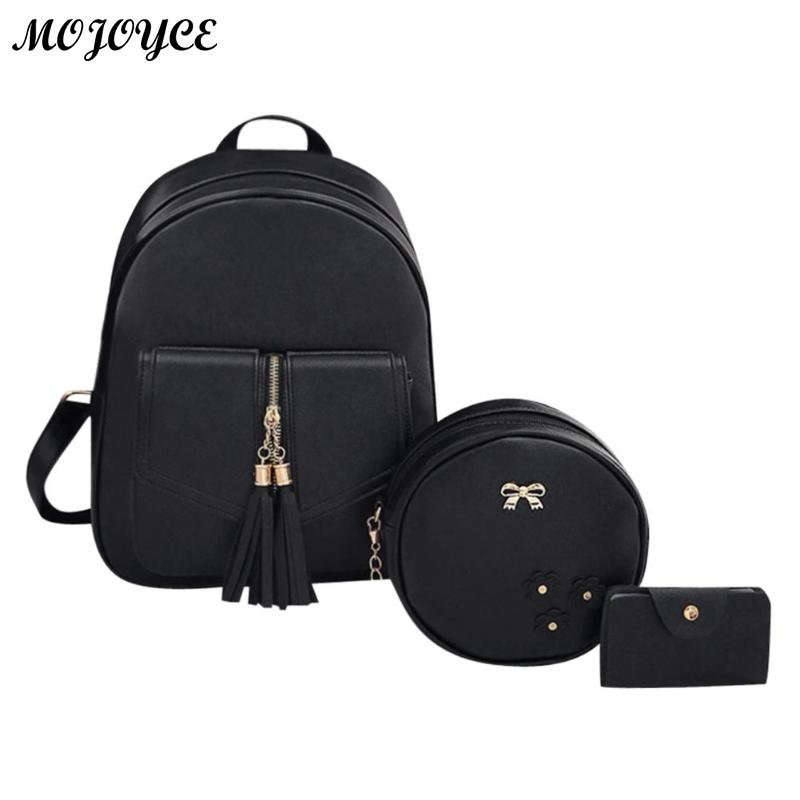 3pcs/set Backpack Elegant Women Bowknot Pu Leather Backpacks Tassels Round Shoulder Crossbody Chain Zipper Composite Card Bag