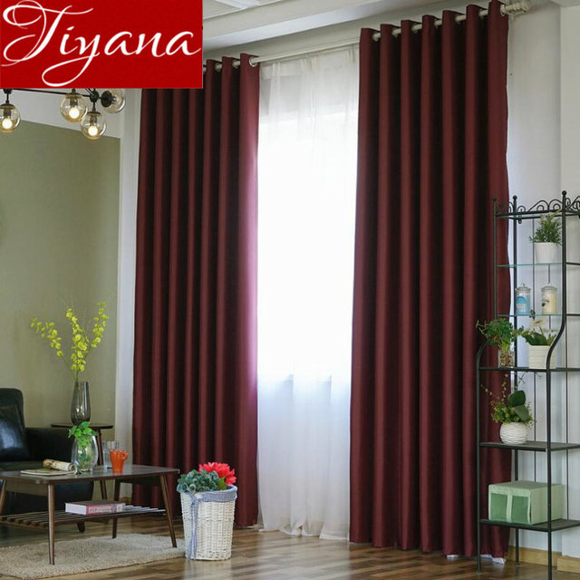 Window Bedroom Solid Curtains Burgundy Kitchen Voile White Sheer Fabrics Curtain For Living Room Blackout