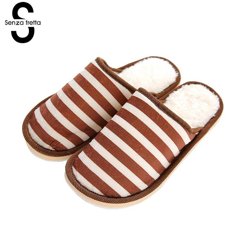 Senza Fretta Men Shoes Winter Warm Men Slippers Indoor Soft Plush Slippers Home Soft Bottom Non-slip Men Slippers Plus Size soft house coral plush slippers shoes white