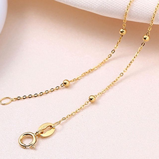 Solid 18k Yellow Gold Necklace Lucky Smooth Bead With O Chain Necklace 16.5inch 2