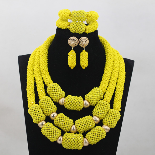Здесь продается  Luxury 3 offers Handmade Beads Lemon Yellow Crystal Jewelry Sets African Wedding Party Necklace Jewelry Set Free ShippingABH045  Ювелирные изделия и часы