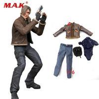 1/6 scale resident Evil Leon clothing set leather coat pant underwear head sculpt for male man boy action figure accessories