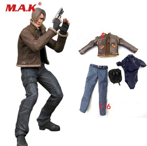 1/6 scale resident Evil Leon clothing set leather coat pant underwear head sculpt for male man boy action figure accessories футболка классическая printio смешарики