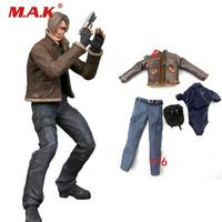 1/6 scale resident Evil Leon clothing set leather coat pant underwear head sculpt for male man boy action figure accessories