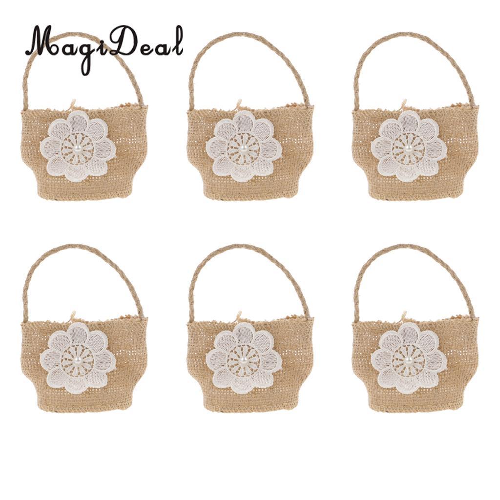 MagiDeal 6pcs/Lot White Flower Burlap Hessian Jute Wedding Party ...