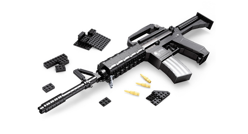 ФОТО building block m16 assault gun 524 pieces of boy toys bricks