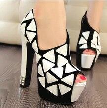 2014 Fashion High Heels Women Peep Toe Platforms Ladies Black Bottom Heels Party Cone Heels Crystal Heels Pumps Sandals