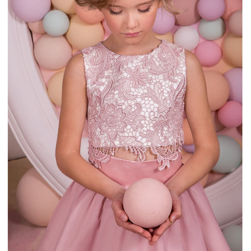 5a3c68105757 Blush Pink Lace Two Pieces Flower Girl Dress Jewel Wedding Party Holiday  Birthday Girl Pageant Dresses ZHP1374-in Flower Girl Dresses from Weddings  & Events ...