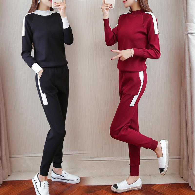 2018 Sweater Two Piece Sets Women Autumn Knit Sweatshirt + Pant Suits Sportsuit Warm Pullovers Knitted Tracksuit Femme Outfits